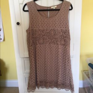 Sleeveless Dress with Crocheted-Looking Overlay